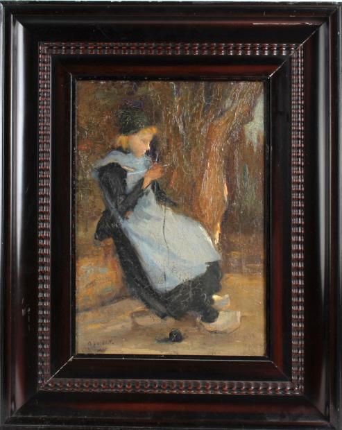S Kalech Dutch Impressionist Portrait Oil Painting