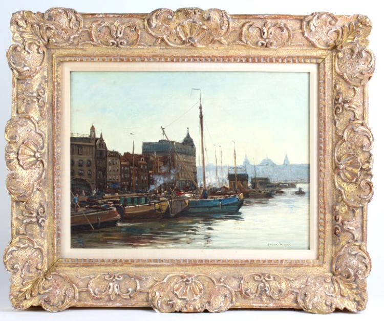 Antique European Harbor Scene Ship Oil Painting