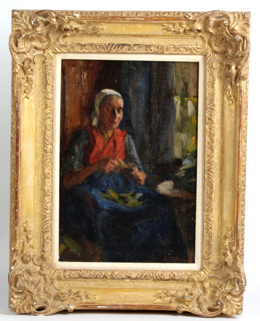 Antique Mystery Artist Portrait of Woman Painting