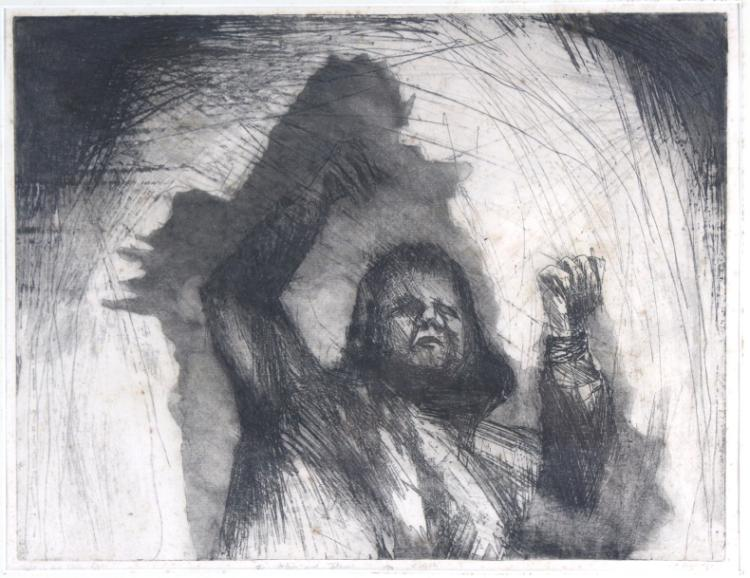 Signed V.F Nicastri Child In The Storm L/E Etching