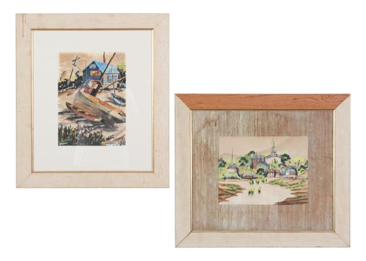 Pair of Jack Amoroso Watercolor Paintings LISTED