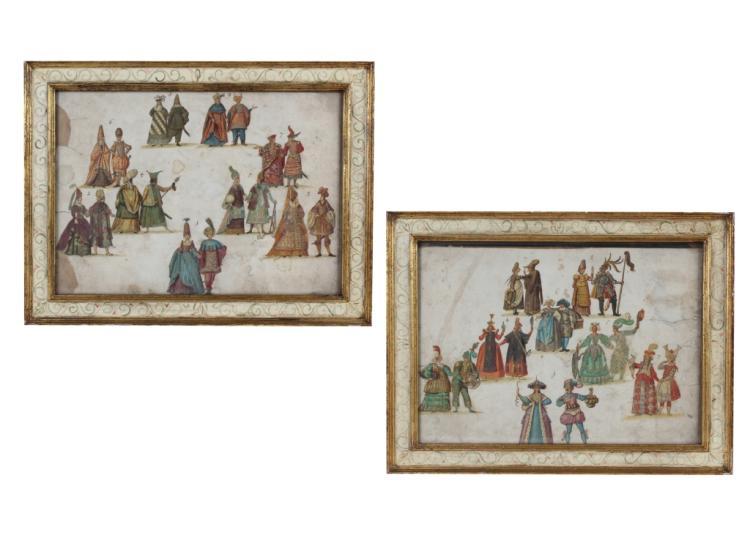 Pair of Antique Venetian Costume Design Paintings