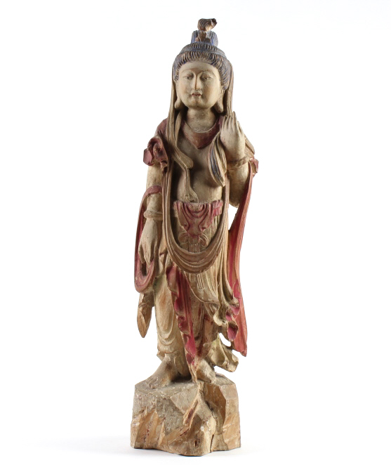 Antique Chinese Carved Polychrome Quan Yin Statue