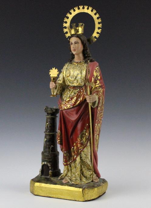 Religious Statue Saint Barbara w/ 18K GOLD 33.7gr