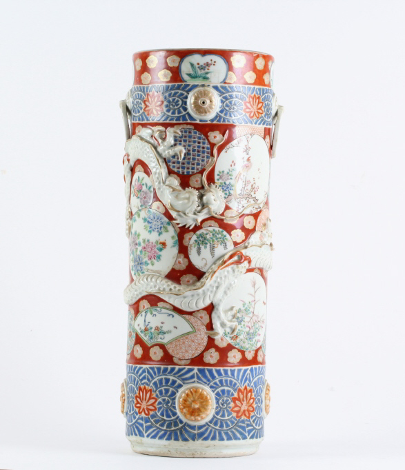 Chinese Raised Dragon Famille Rose Umbrella Stand