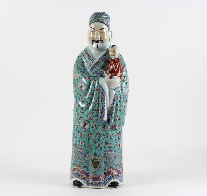 Chinese Famille Rose Wise Man Scholar Child Statue