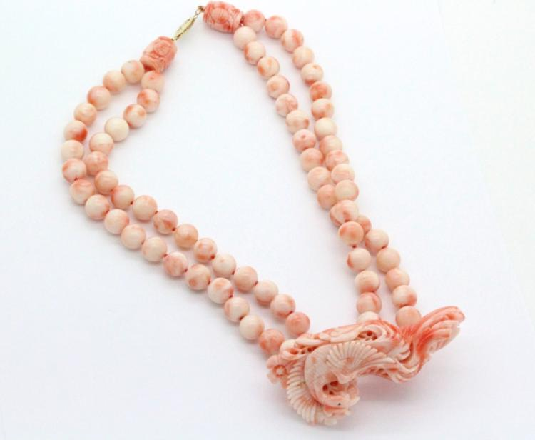 Chinese Carved Pink Angel Skin Coral Necklace 163g