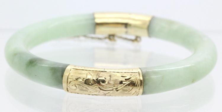 FINE14k Gold Chinese Green Jade Bangle Bracelet