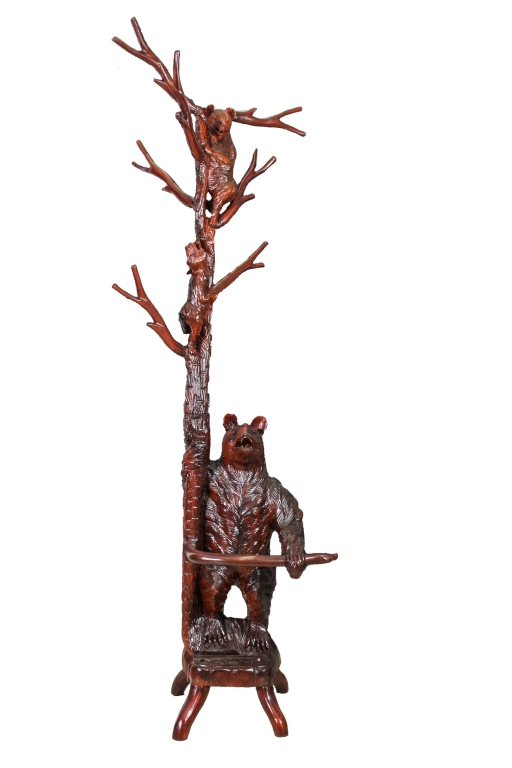 Black Forest Style Carved Bear Hall Tree Stand 88