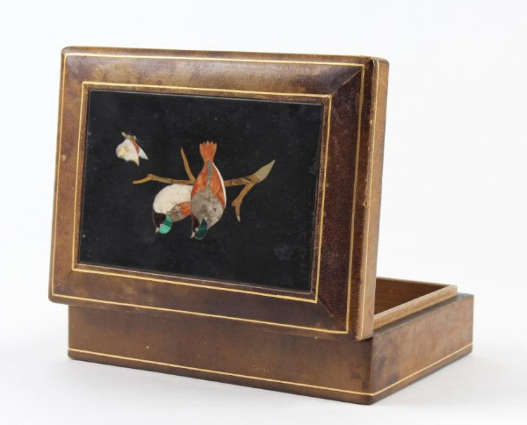Love Birds Pietra Dura Gemstone Mosaic Top Box 6
