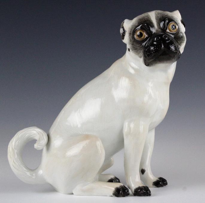 Meissen German Porcelain Seated Pug Dog Figurine