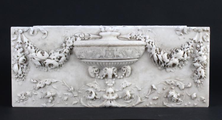 FINE Antique Carved Marble Urn w Floral Panel 9x22