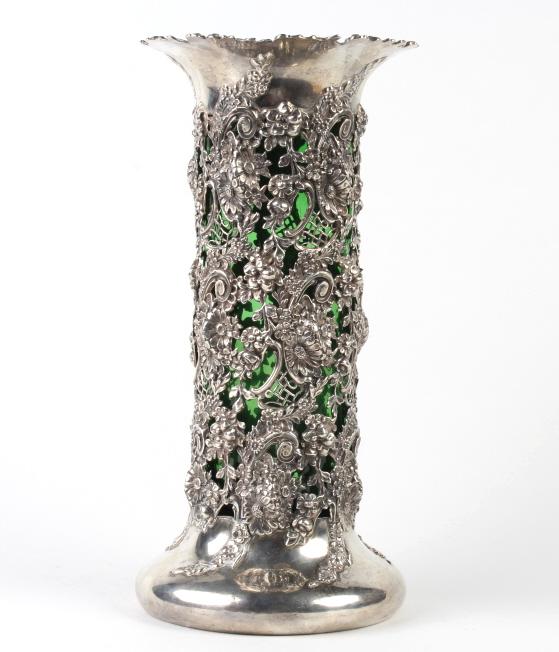 J.E Caldwell Sterling Silver Pierced Repousse Vase