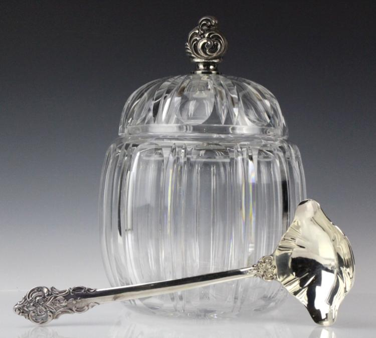 LARGE Continental Silver & Crystal Lidded Tureen