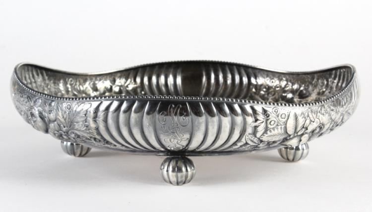 Gorham Floral Repousse Sterling Silver Footed Bowl