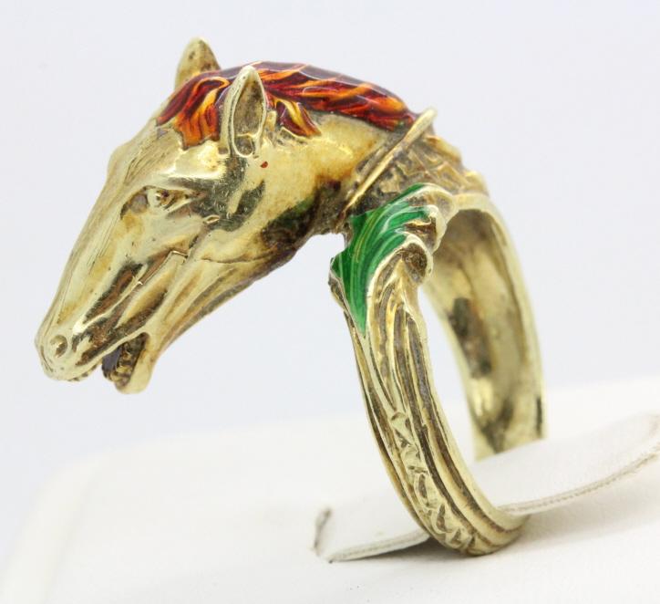 Designer 14k Gold Enameled Horse s 7.5 Ring 14gr