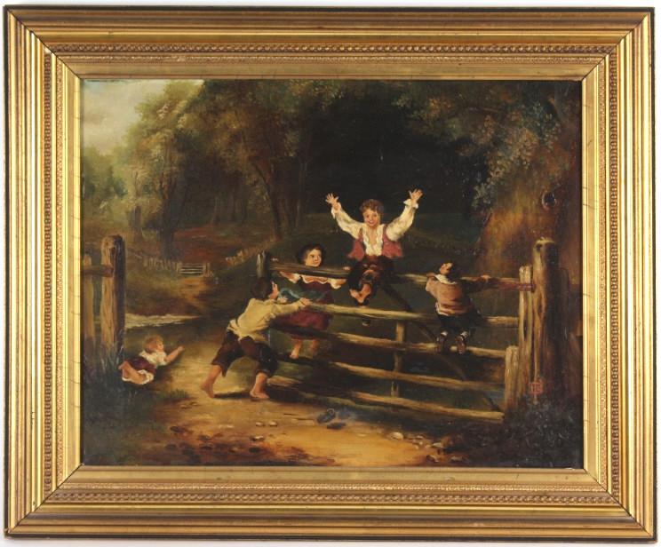 Antique Artist Signed Romantic Figural Painting