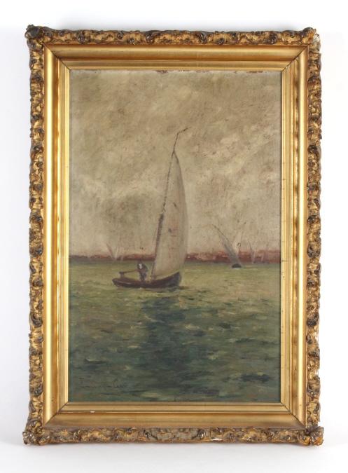 Signed EDWARD GAY Coastal Sailboat Oil Painting