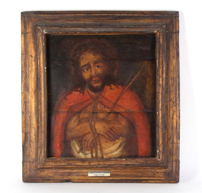 Antique 18th Century Christ Portait Oil Painting