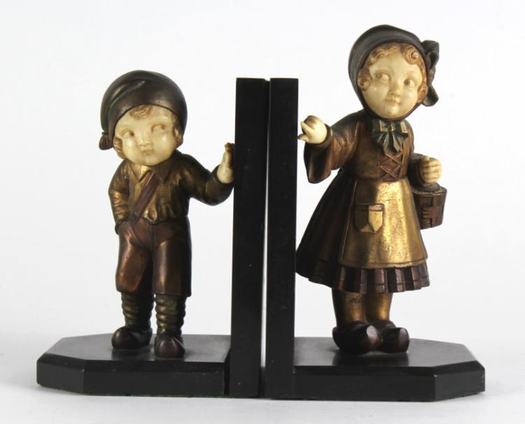 Art Deco MOLINS French Bronze Boy & Girl Bookends