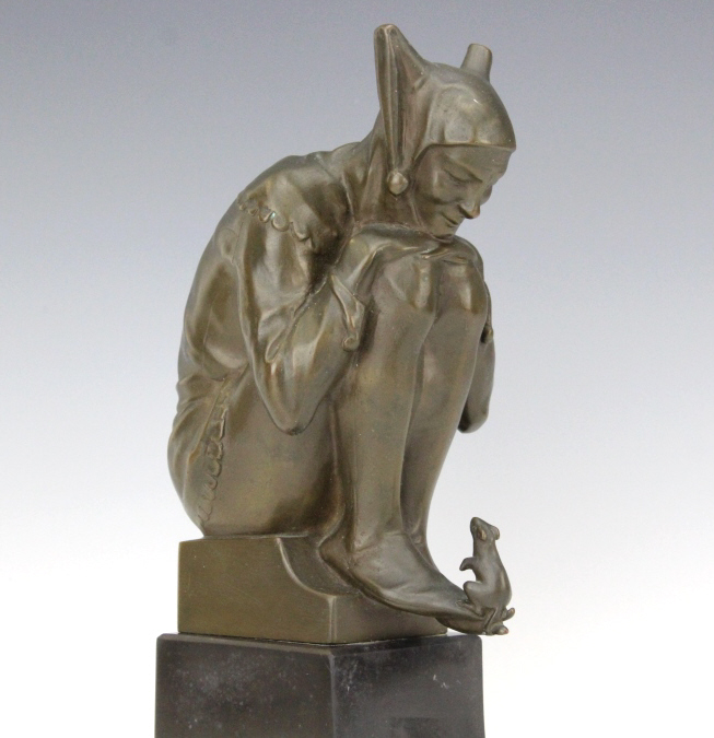 John Wolfgang Elisher Jester & Mouse Bronze Statue