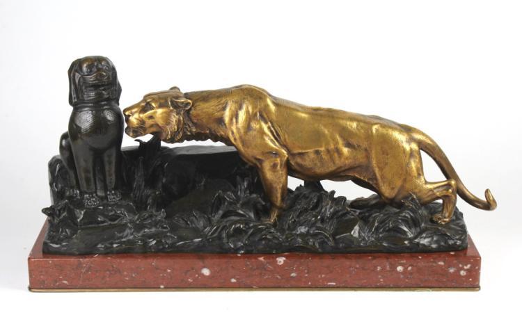 Georges Gardet Bronze Lioness & Foo Dog Sculpture
