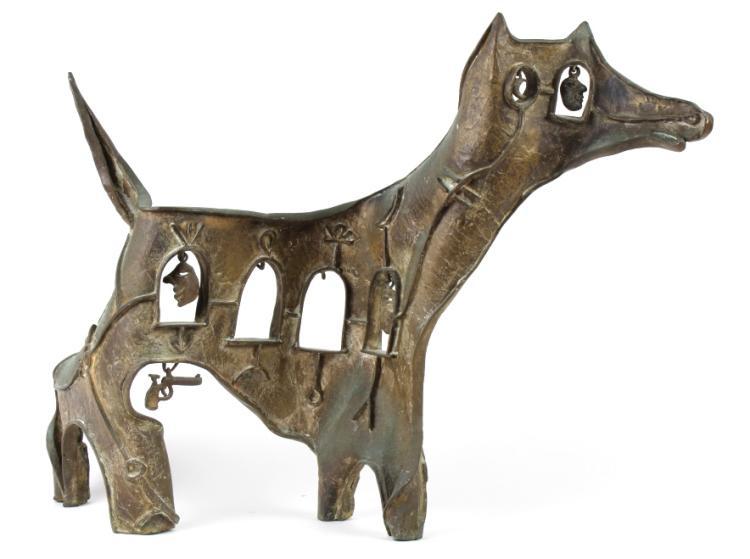 Daniel Harris ZEV Abstract Bronze Dog Sculpture