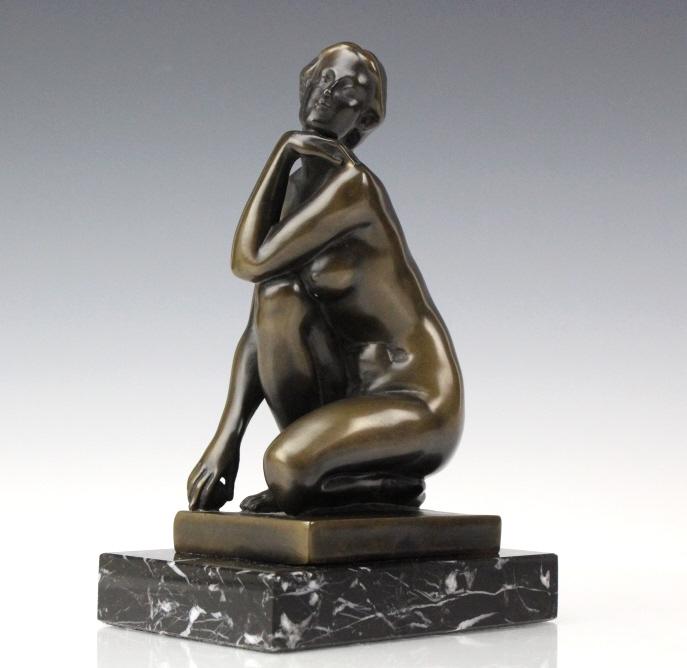 Artist Signed Italian Bronze Nude Woman Sculpture