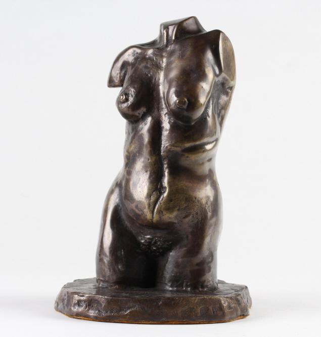 SIGNED Female Nude Figural Bronze Torso Sculpture