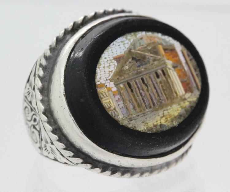 Antique Pantheon Micro Mosaic Sterling Silver Ring