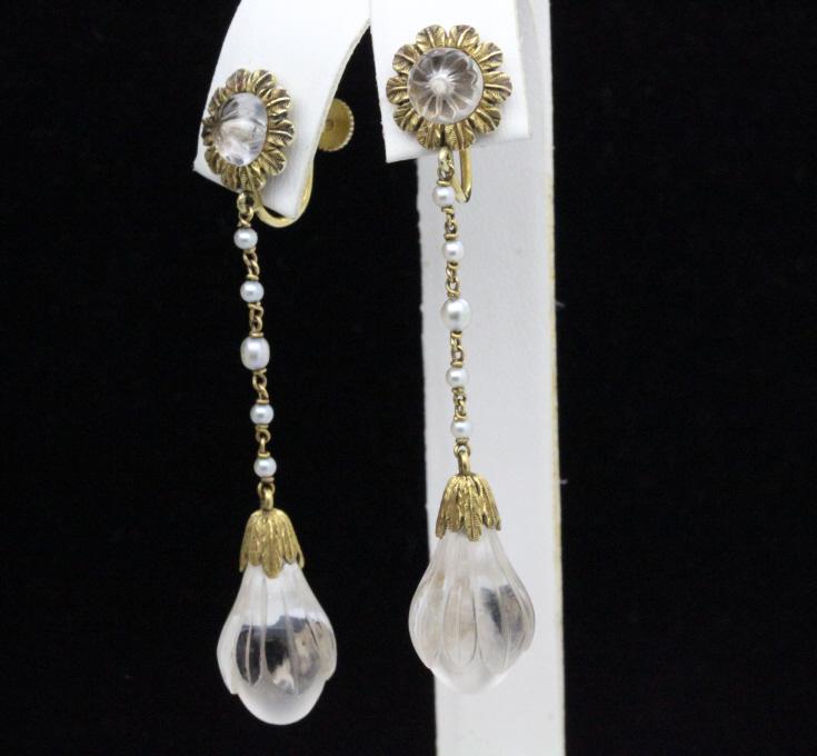Pr Tiffany & Co Art Deco 14k Rock Crystal Earrings
