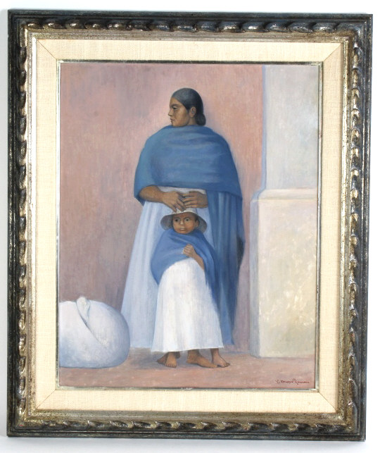 Carlos Orozco Romero Mexican Mother Child Painting
