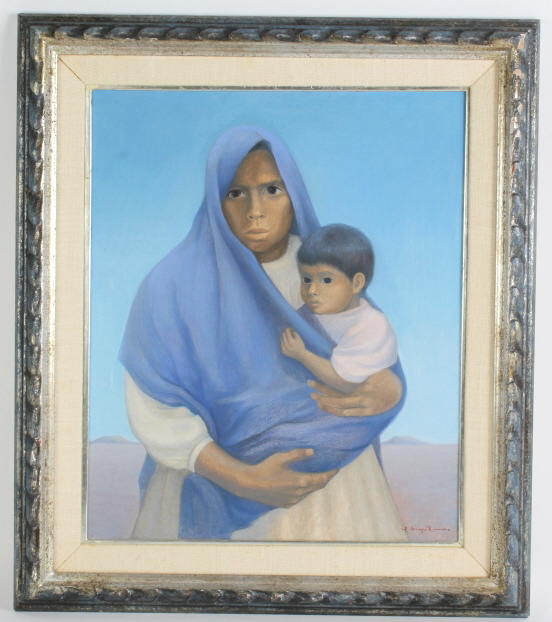 Carlos Orozco Romero Mexican Lady w Child Painting