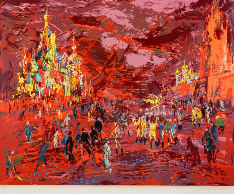 Signed Leroy Neiman Limited RED SQUARE Serigraph