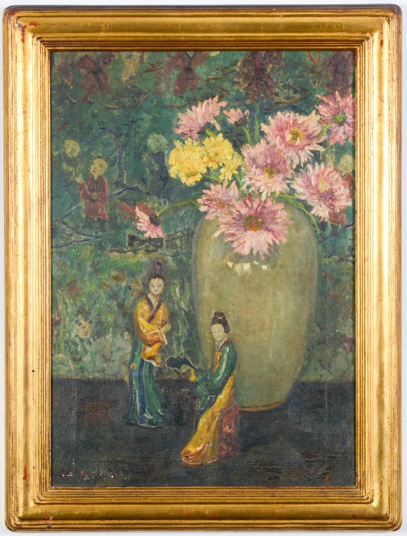 Bessie Lasky USA Chinoiserie Oil Painting LISTED