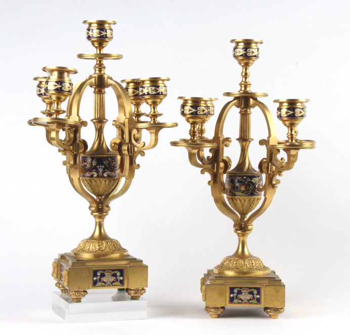 PAIR Dore Bronze Champleve Enamel Candelabras 14