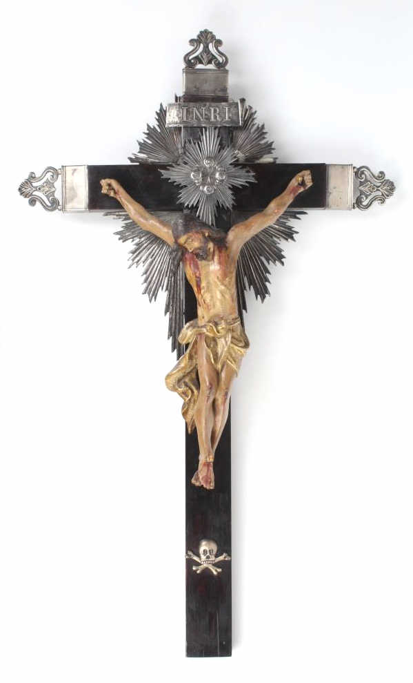 18th Century Silver Ebony Crucifix Carved Cross