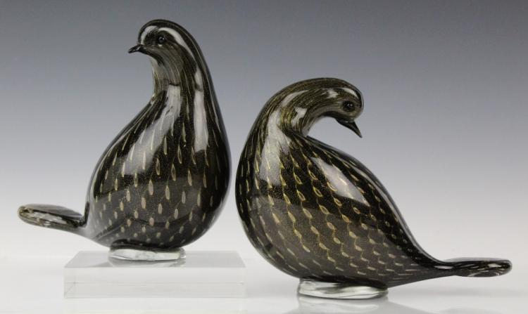 PR Italian Murano Art Glass LOVE Birds Peace Doves