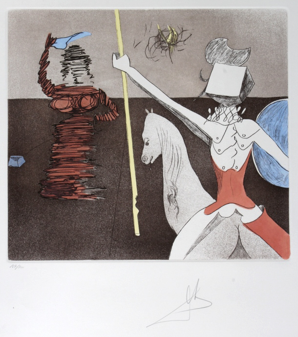 Salvador Dali OFF TO BATTLE Etching Arches SIGNED