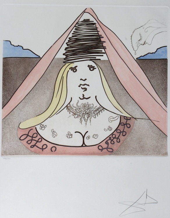 Salvador Dali LADY DULCINEA Etching Arches SIGNED