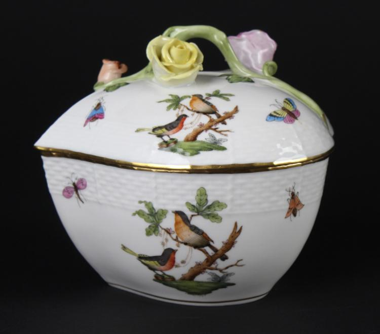Herend Rothschild Porcelain Heart Trinket Box