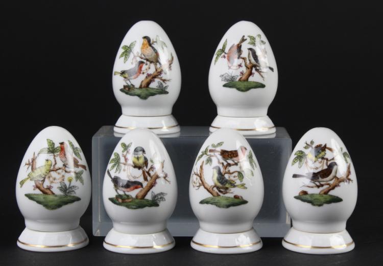 6 Herend Rothschild Porcelain Salt Pepper Shakers