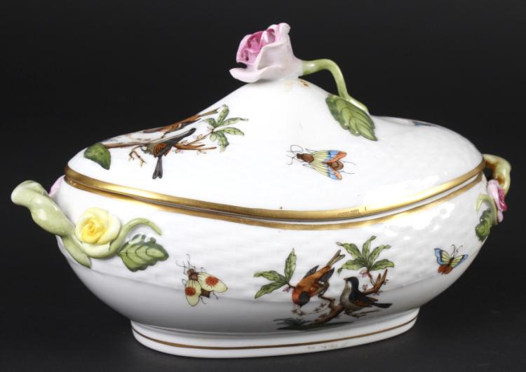 Herend Rothschild Porcelain Oval Mini Tureen w Lid