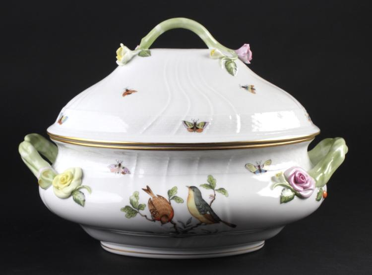 Herend Rothschild Porcelain Large Oval Soup Tureen