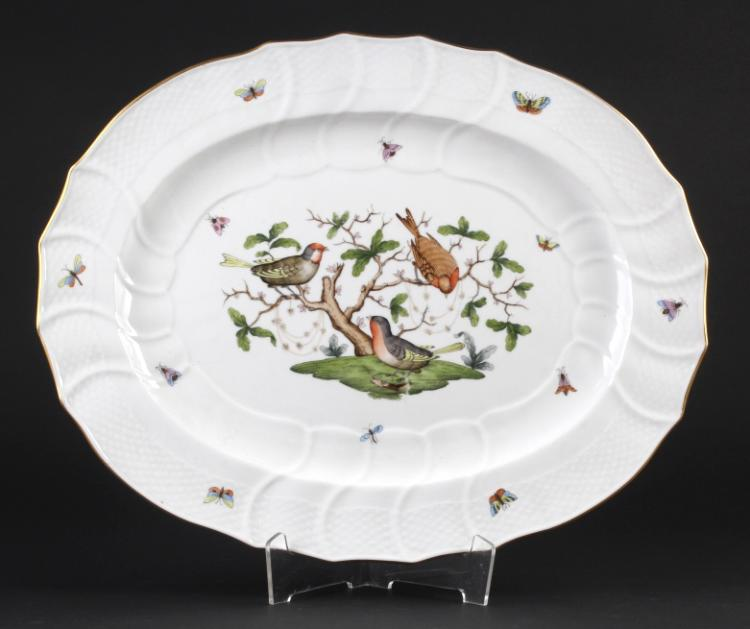 Herend Rothschild Porcelain Oval Serving Platter