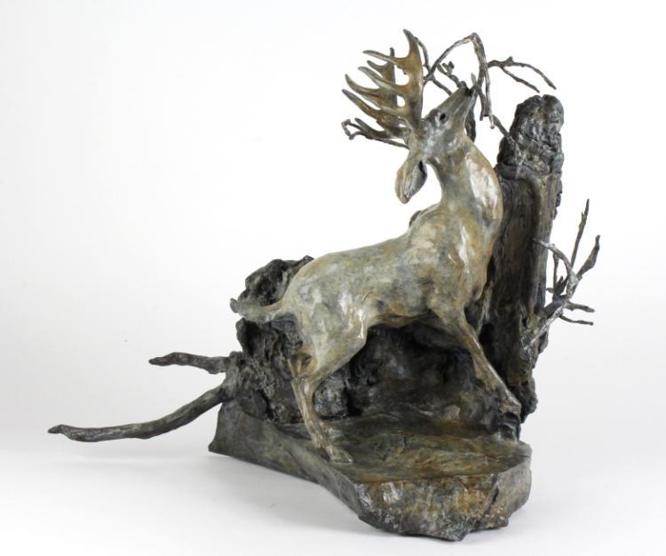 Sherry Sander Late Fall L/E Bronze Deer Sculpture
