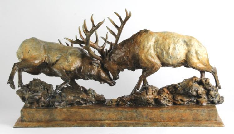Sherry Sander Bluff Called Bull Elk Bronze Statue