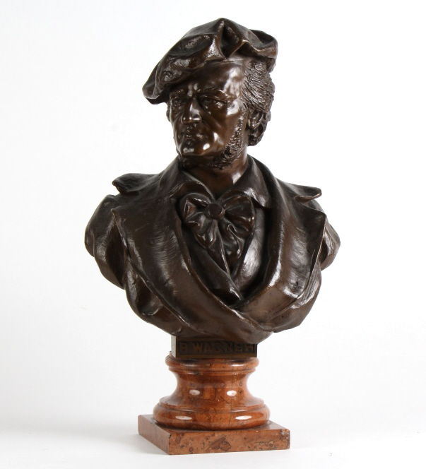 Antique Bronze Bust of Composer Richard Wagner 15