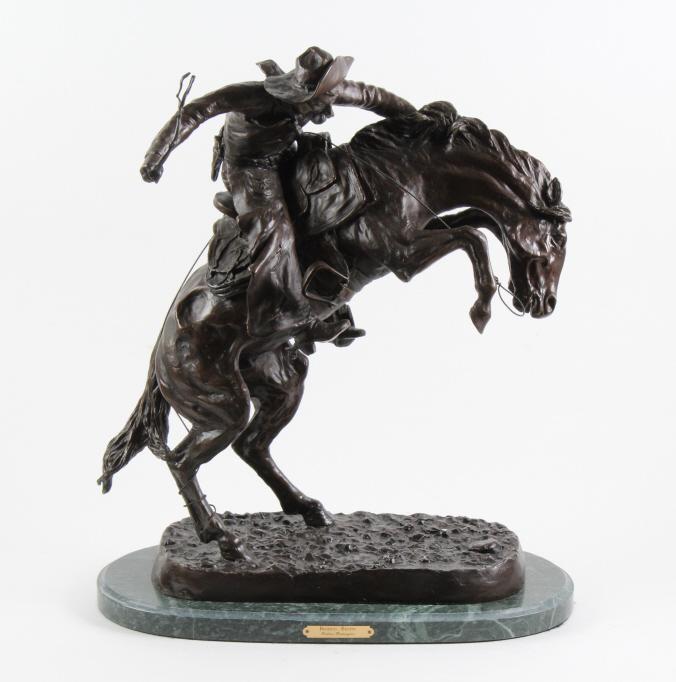 After F. Remington Bronze Bronco Buster Sculpture