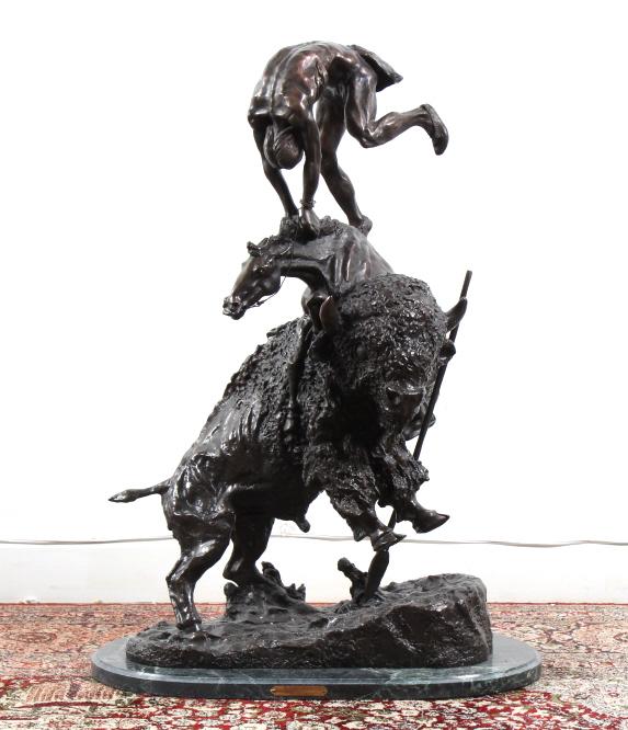 After F. Remington Bronze Buffalo Horse Sculpture